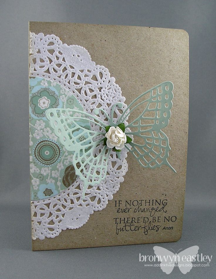 I love the added patterned paper to the doilies. Wonderful butterfly