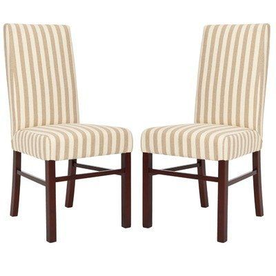 Love These As The Two End Chairs For Dining Room Safavieh Classical Parsons Stripe Linen Side Pack Of
