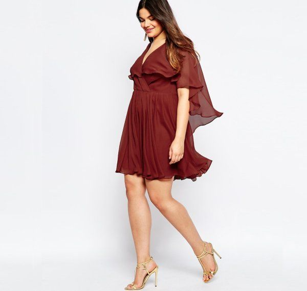 13 Cute Plus Size Summer Dresses Which You Will Love: Cute short rusty colored summer plus size dress with caped top and sexy V-neck