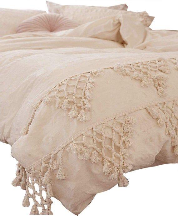 Tassel Duvet Cover 3 Pc Set Cotton Duvet Cover Full King Etsy In 2020 Boho Duvet Cover Boho Duvet Boho Bedding