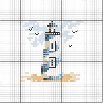 Light house cross stitch chart - Schema punto croce Faro