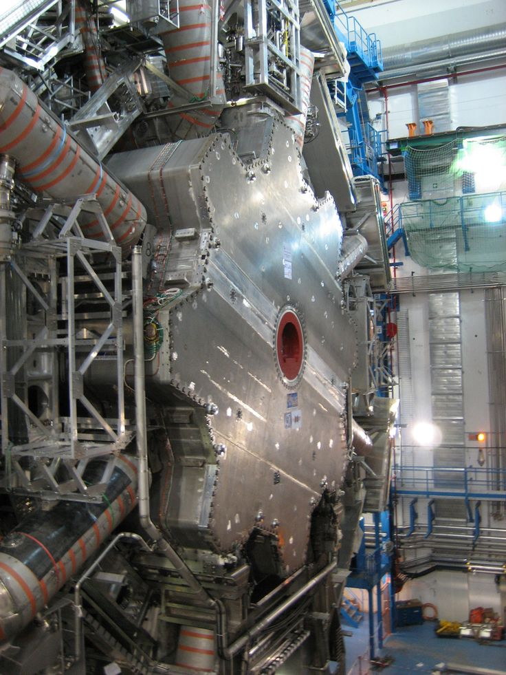 Cross section of the ATLAS detector, CERN's Large Hadron Collider. Partially finished.