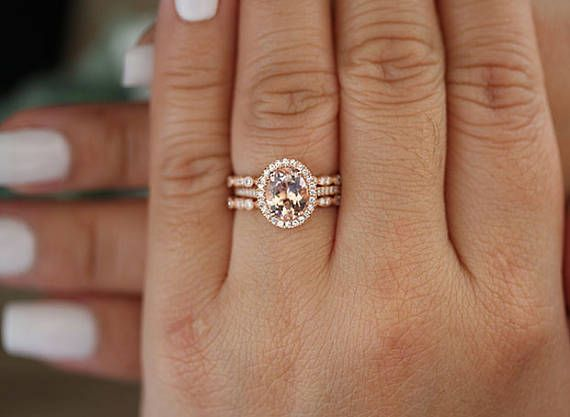 Totally 3 Pieces Bridal Ring Set One Engagement Ring Plus 2