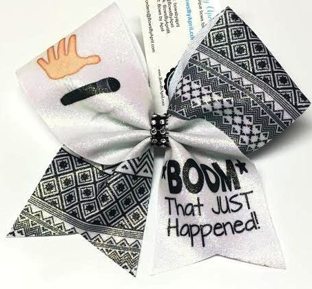 Bows by April - BOOM That Just Happened Mic Drop Glitter Cheer Bow, $15.00 (http://www.bowsbyapril.com/boom-that-just-happened-mic-drop-glitter-cheer-bow/)