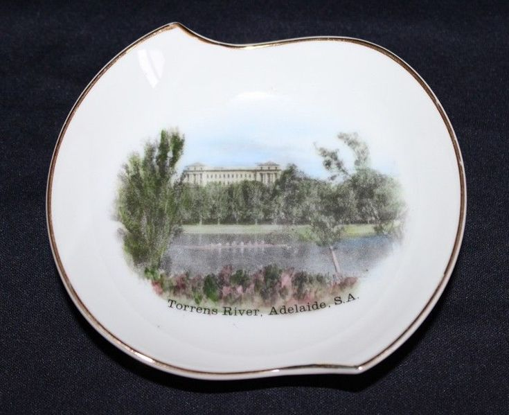 Hand Painted Vintage Souvenir Pin Dish Of The TORRENS RIVER, Adelaide SA
