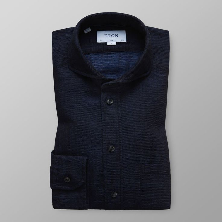 Indigofärgad skjorta - bomull & linne | Eton Shirts Sverige