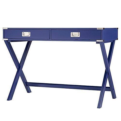 Modern Wood Accent X Base Navy Blue Student Computer Writing Office Desk  #ModHausLiving