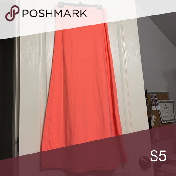 Orange Maxi skirt. Rue 21 maxi orange skirt, ruffled side. Work twice. Rue 21 Skirts Maxi