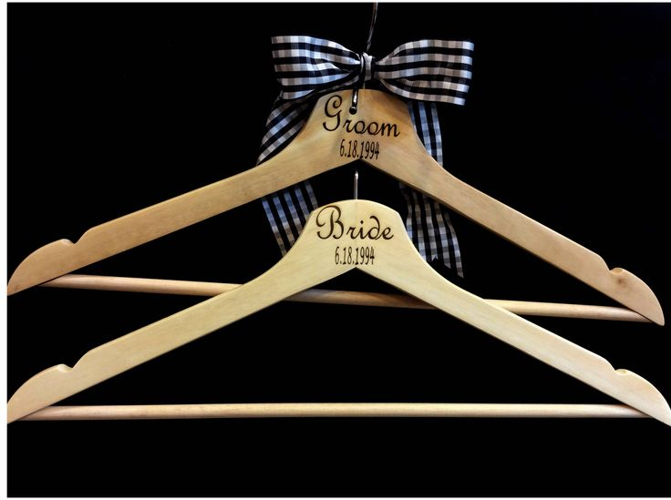 Customized Bridesmaid Dress Hanger, Personalized Bride Groom Wedding Hanger, Custom Wooden Wedding Dress Suit Hangers, Wood Bride Gift by TheCreatorLab on Etsy