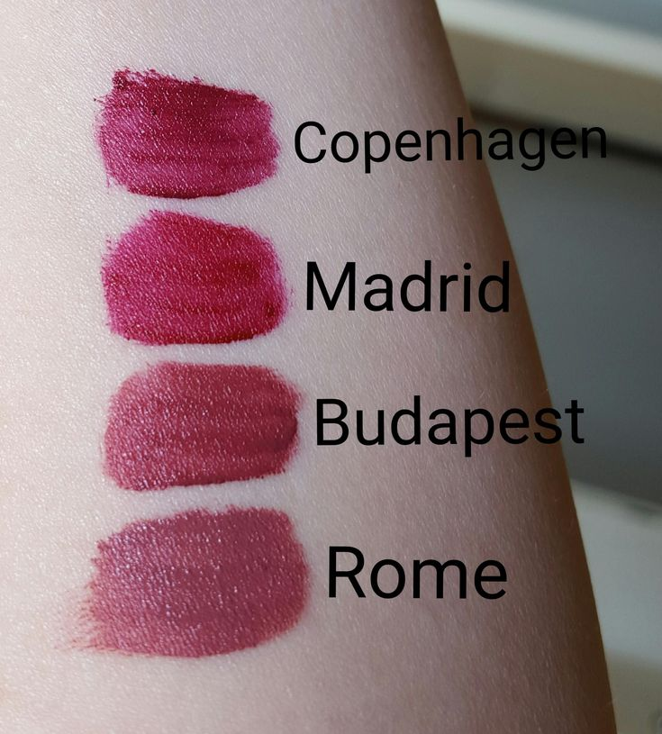 Nyx Soft Matte Lip Cream Swatches - Rome, Budapest, Madrid and Copenhagen