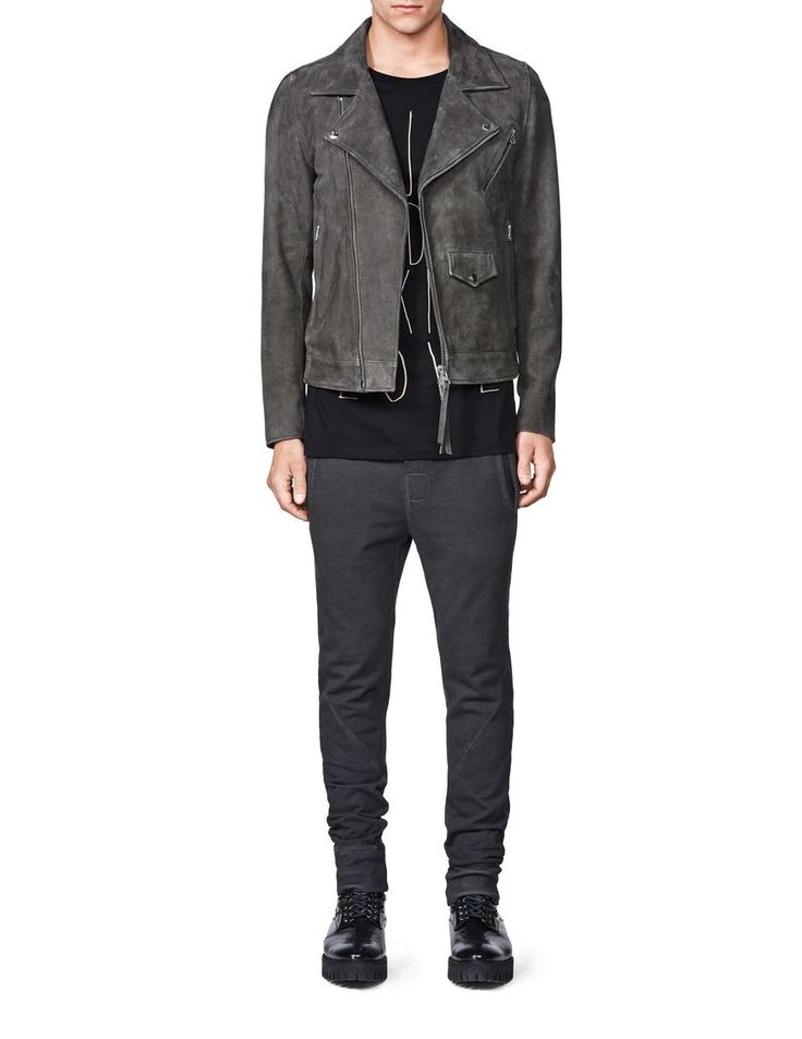 zuko jacket-Men's biker jacket in suede. Features 2-way off-centre metal zip fastening. Visible zips at pockets and back of cuffs. Lapels with press button fastening. Shaped yoke and back for superior fit. Fully lined and padded. Slim/regular fit. Hip length.