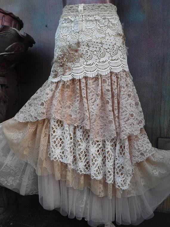 20%OFF wedding bridaltattered skirt boho fantasy stevie