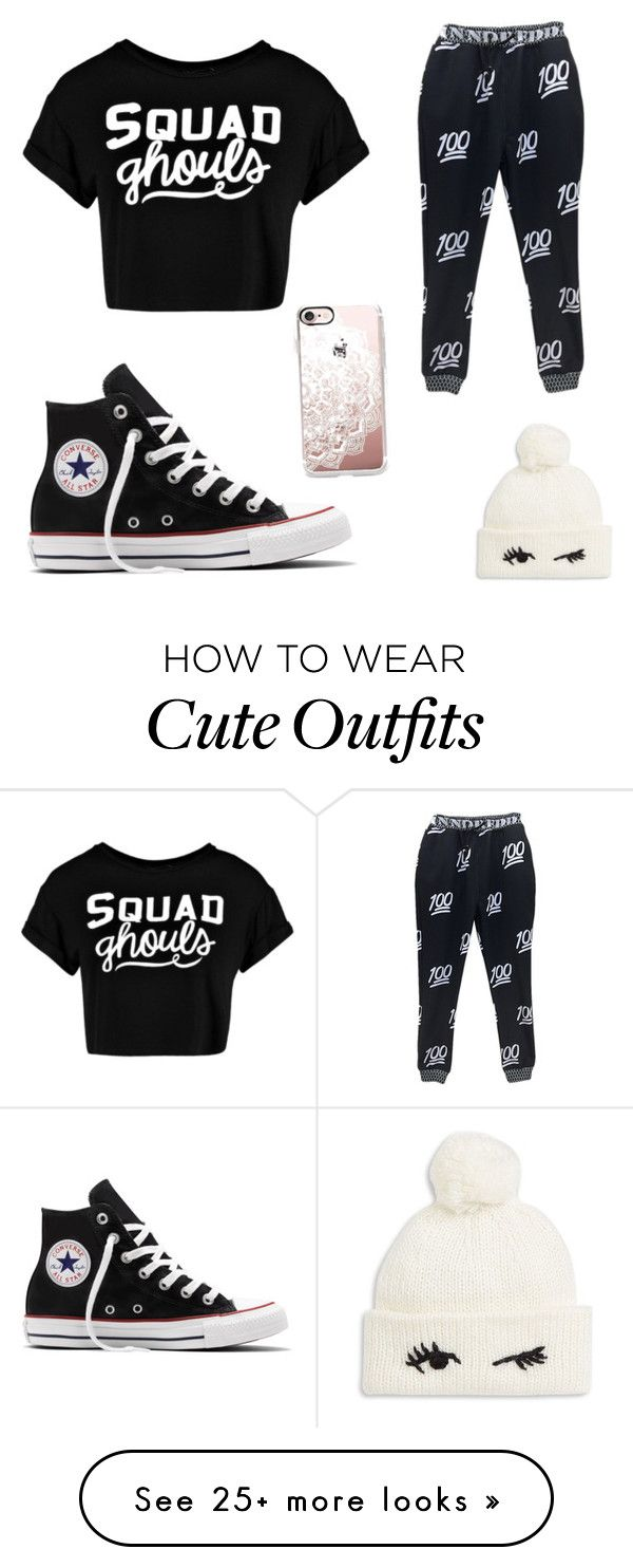 """Black lazy day outfit"" by zebragirlallison on Polyvore featuring Boohoo, Converse, Kate Spade and Casetify"