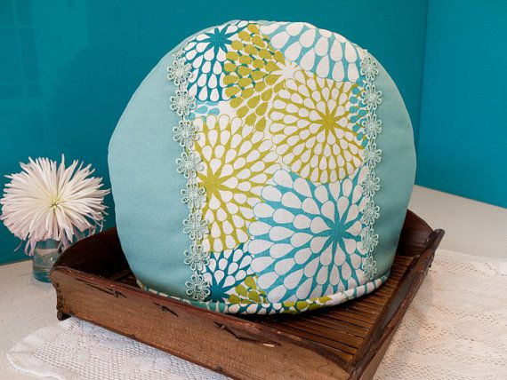 Blue and green handmade floral tea cosy by freshdarling on Etsy