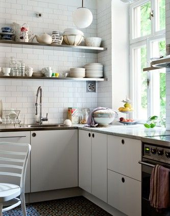 Kitchen upgrade - Open Shelving  Pure Style Home: Open Shelving in the Kitchen- the great debate: Kitchens Window, Kitchens Interiors, Kitchens Shelves, White Tile, Open Shelves, Subway Tile, Design Kitchen, Modern Kitchens Design, White Kitchens