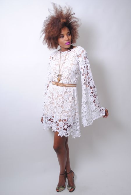 white CROCHET LACE DRESS bell sleeve - boho wedding dress - mini length hippy vintage inspired. $220.00, via Etsy.