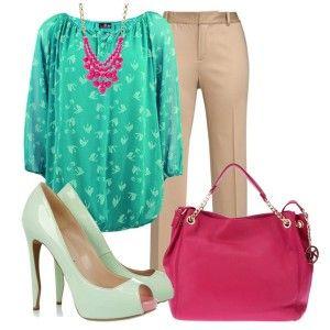 Туфли мятного цвета, бежевые брюки, бирюзовая кофточка, розовая сумка, яркая бижутерия
