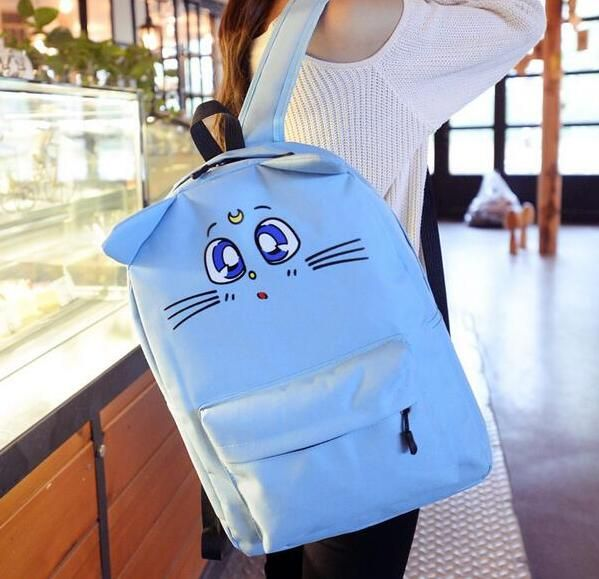 Women Cute Backpack With Ears Anime Sailer Moon Backpacks 2017 New Teenagers Canvas Bags Free Shipping