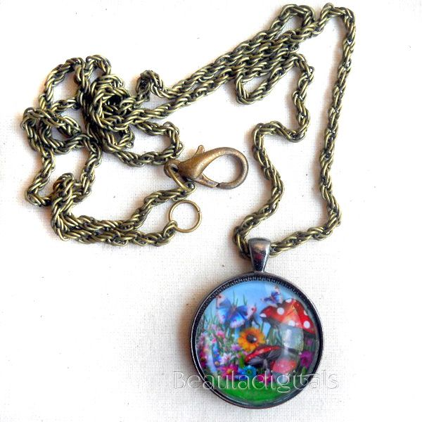 Alice in Wonderland Theme Inspired One of a kind Necklace and Pendant Gorgeous colors and has a 3D effect