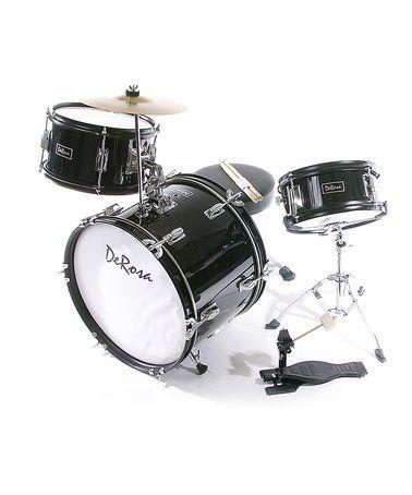 This Black De Rosa Three-Piece Kid's Drum Set is perfect! #zulilyfinds