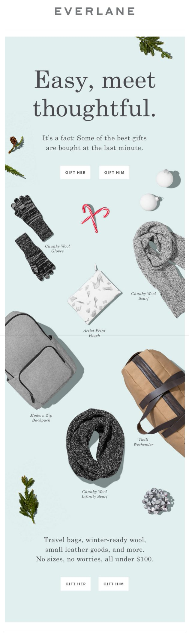 Everlane Holiday Gifts email. SL: Our Easiest Gifts. Under $100.