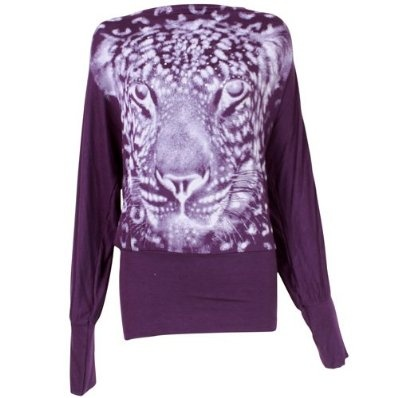 Ladies Batwing Top Long Sleeved Tunic Jumper with Tiger Print - Purple £9.99