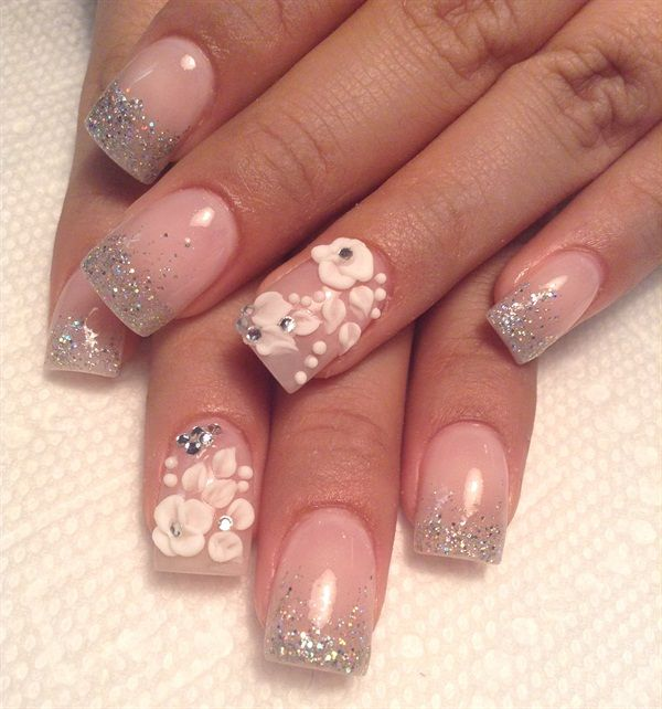 209 best Bridal Wedding Nail Art images on Pinterest | Wedding nails ...