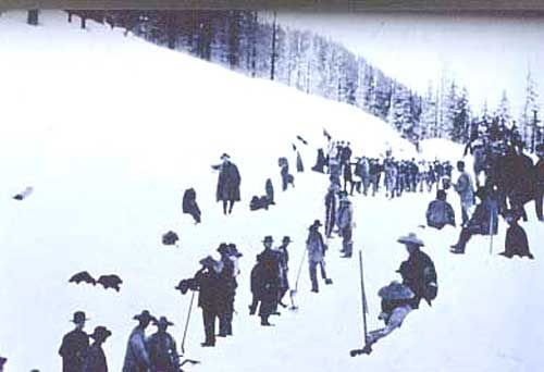 Chinese immigrant railroad workers in the snow: Labor of thousands completes first transcontinental railroad, May 10, 1869