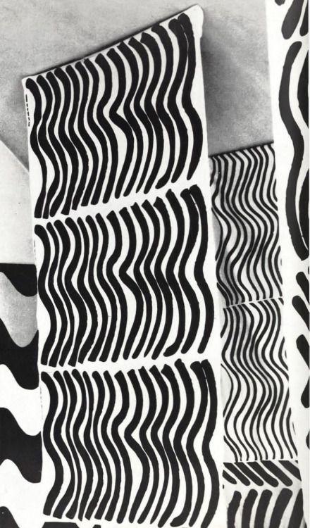 MAIJA ISOLA, Silkkikuikka and Lokki-patterns (1961), Printex Oy (later Marimekko), Finland. Pigment printed cotton.