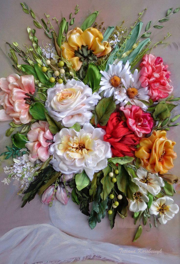 Купить Цветы в вазе, вышитая лентами картина, 3D картина. - комбинированный, Вышитая картина