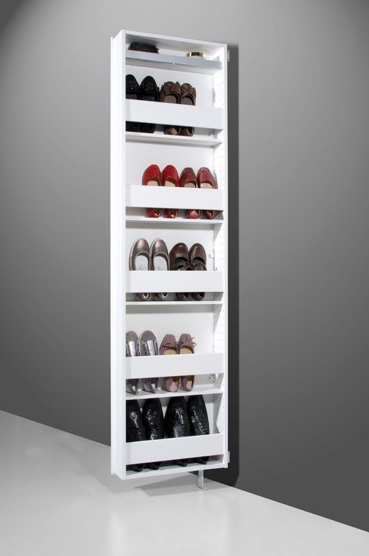 5 shelf concealed shoe rack with large mirror front