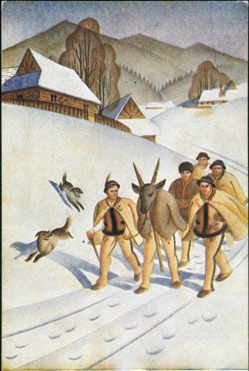 Classic Polish Christmas Card, source: National Library, Polona.pl