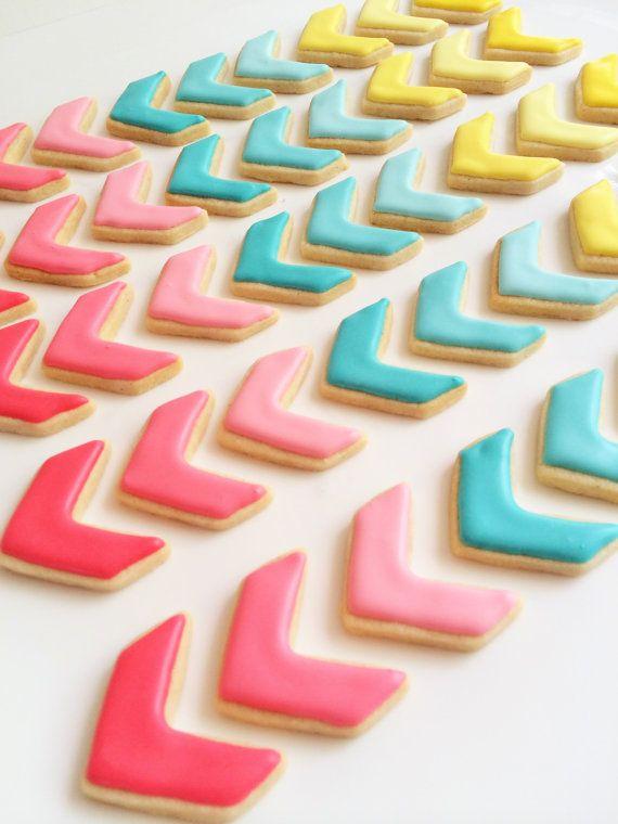 Chevron Cookies 3 dozen cookies by SunshineBakes on Etsy