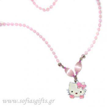 Κολιέ Hello Kitty ροζ με περλέ ροζ πέτρες - Είδη σπιτιού και χειροποίητες δημιουργίες | Σοφία