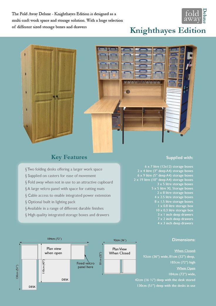 Available With Or Without BoxesKey Features:u2022Two Folding Work Tables   The  Table In · Sewing CabinetCraft Projects