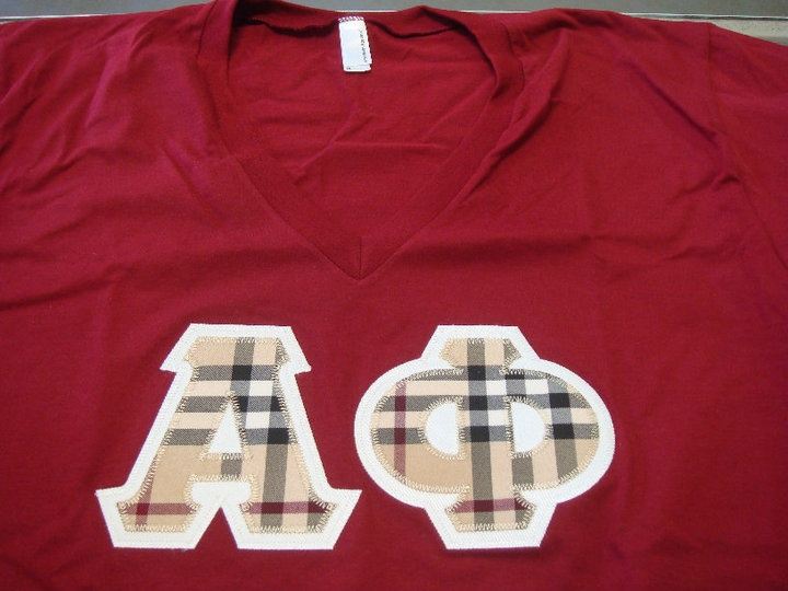 alpha phi letters made with burberry fabric
