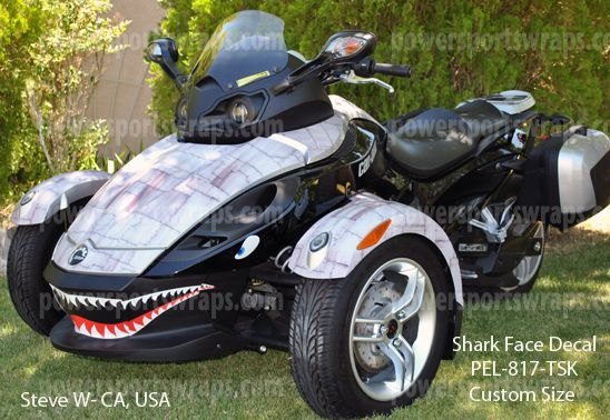 Can-Am Spyder wrap, decals, graphics, P40 Shark face, warhawk effect | Power Sports Wraps Customer Projects