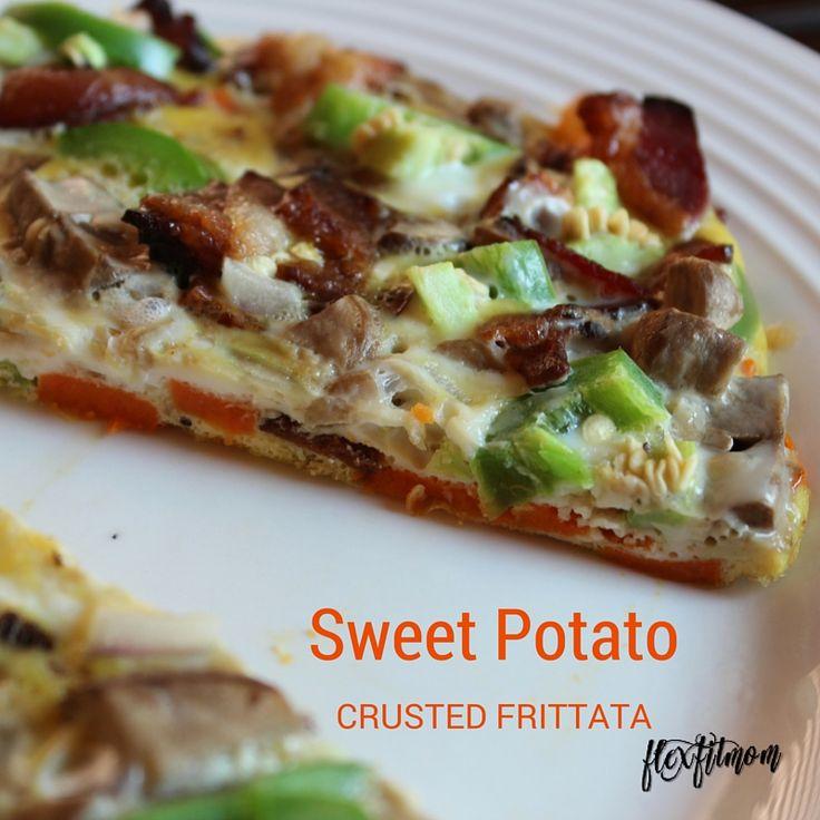 Healthy breakfast - sweet potato crusted frittata.  Sweet potato, eggs, bacon, jalapeno, red onion, mushrooms.  Paleo breakfast