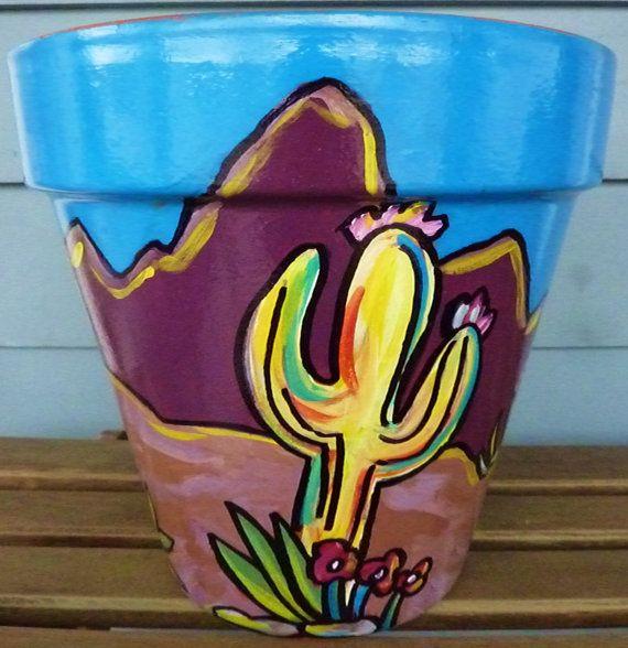 """Sol, cactus y Montanas de 6 """"Original pintada Cerámica de la terracota"""