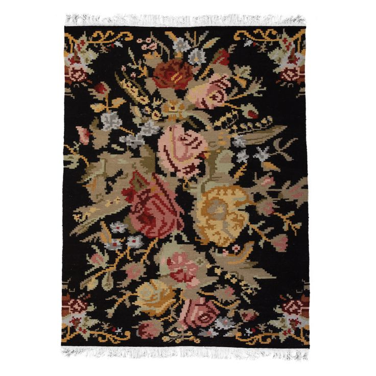 Floral Reversible Wool Rug - Black Background  www.atkinandthyme.co.uk