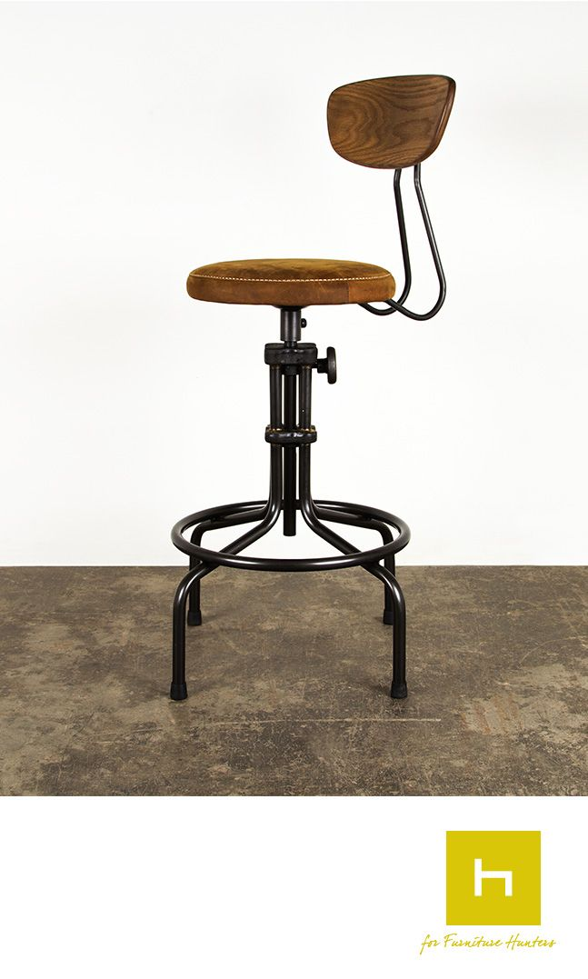 The District Eight Buck Leather Counter stool, has a modern design with a solid pressed oak backrest and leather upholstered cushion seat. #furniturehunters #barstool