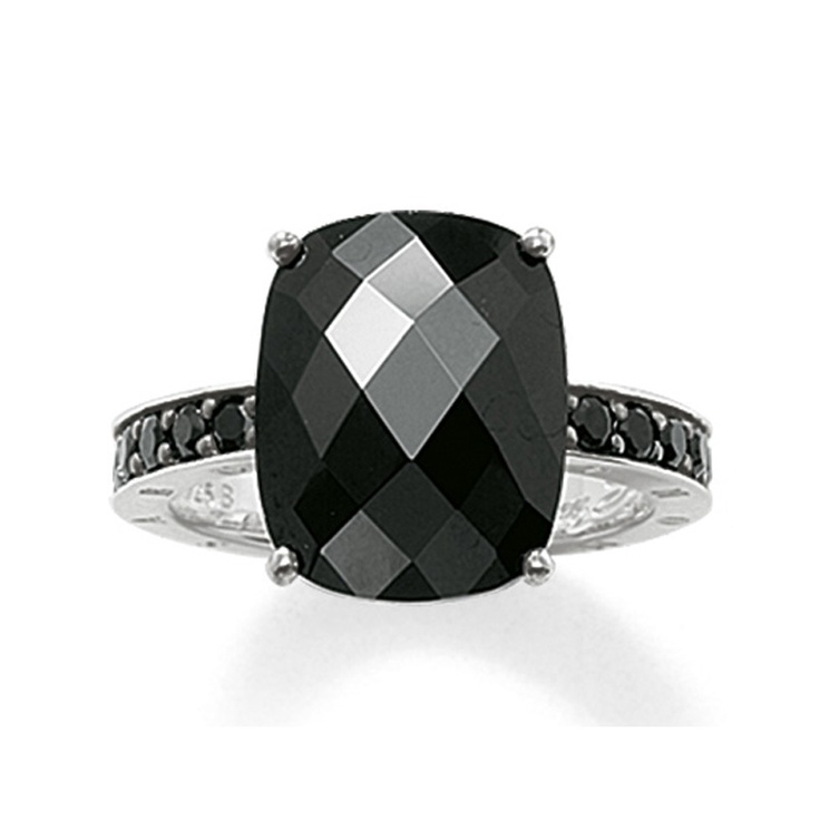 Thomas Sabo Black Onyx and Cubic Zirconia Ring