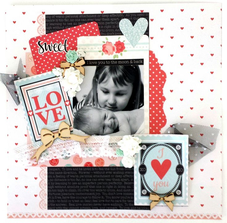 """""""Sweet (sibling) Love"""" Layout by Amanda Baldwin Design Team for Kaisercraft (using """"XO"""" Collection) ~ Scrapbook Pages 1."""