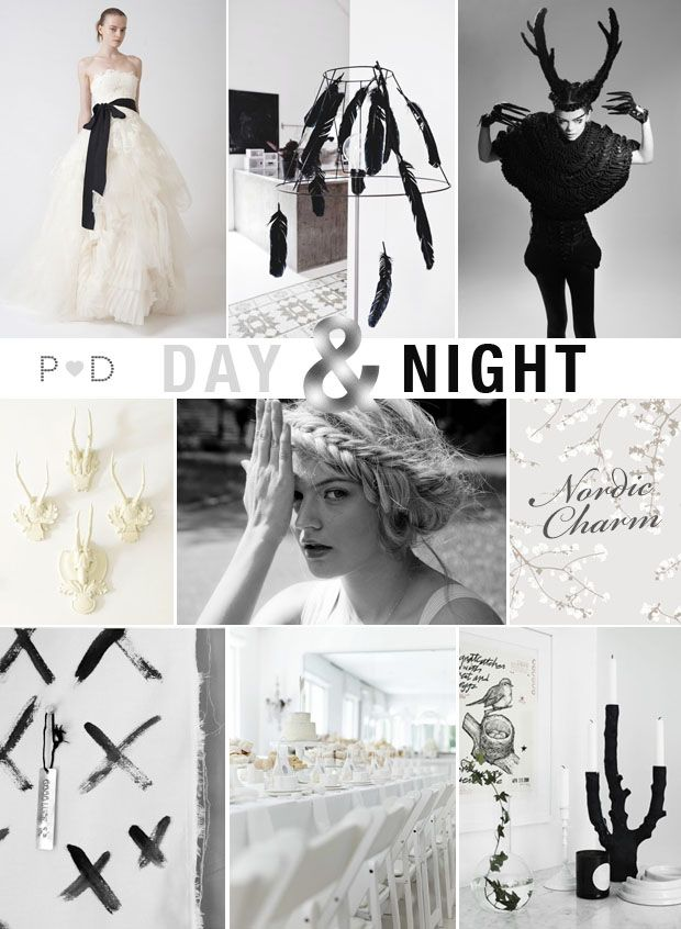 Day & Night, black and white, monochrome, wedding inspiration, nordic, black feathers, antlers, braids, mood board