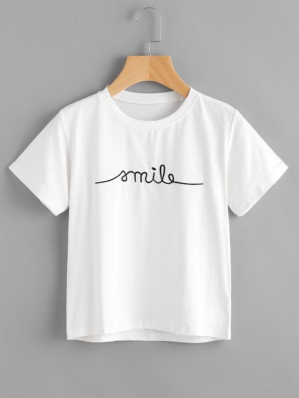 Shein Letter Embroidered Tee
