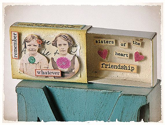 MATCHBOX ART - OAAK - Assemblage - Message Box - Card - Vintage romantic, Shabby Chic