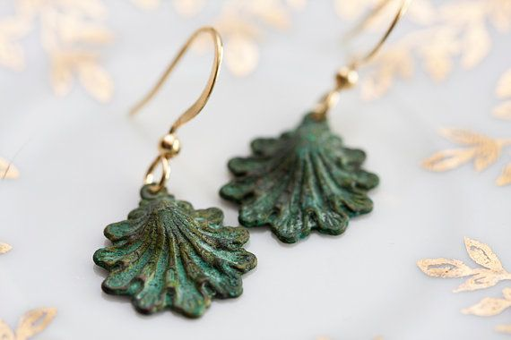 Patina Shell Earrings Verdigris Shell Charms by SilentRoses, $20.00