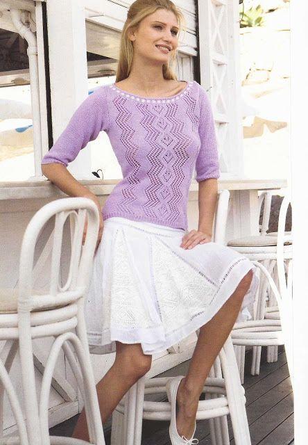Patrón #957: Blusa en Dos Agujas | CTejidas [Crochet y Dos Agujas]