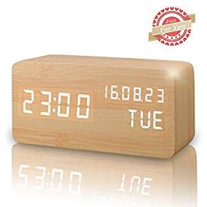 Amazon.com: Wooden LED Digital Alarm Clock, Displays Time Date Week And Temperature, Cube Wood-shaped Sound Control Desk Alarm Clock for Kid, Home, Office, Daily Life, Heavy Sleepers (Wood): Home & Kitchen
