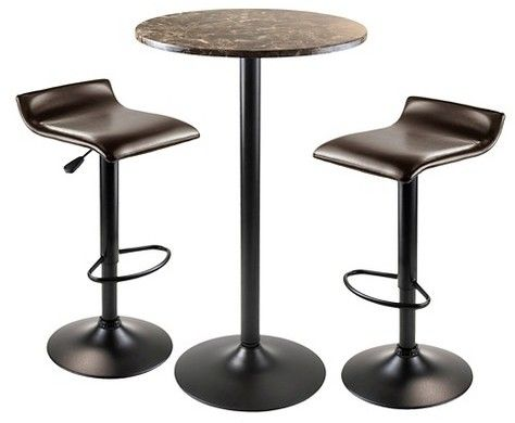 Winsome Cora Round Pub Table with 2 Swivel Stools Wood/Black